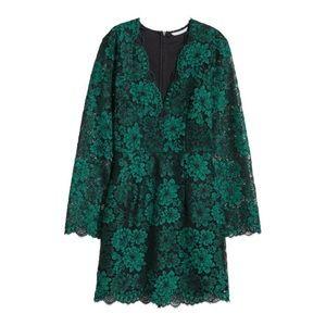 H&M V-Neck Long Sleeve Dress  (Green/Black)